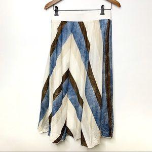 CHICO'S Boho Silk Blend Striped Maxi Skirt Size 2
